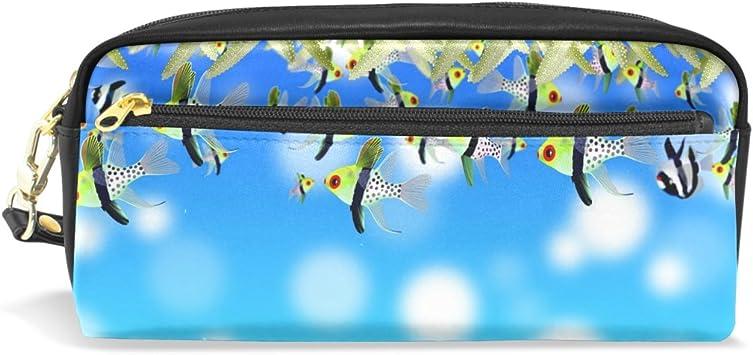 Ahomy Ocean Fish Aloe Vera - Estuche para lápices con doble cremallera para maquillaje de papelería, bolsa de almacenamiento para niñas y niños y mujeres: Amazon.es: Bricolaje y herramientas