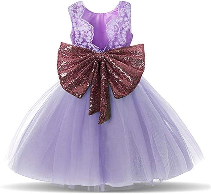 Sawanica Baby M/ädchen Kleid Taufe Kleid Kind M/ädchen Pailletten-Kleid mit Schleife-Deco M/ädchen 0-5 Jahre