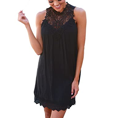 7cc6366ed2 Juqilu Sexy Women Mini Dress Halter Neck Lace Loose Sleeveless Summer Beach  Sundresses