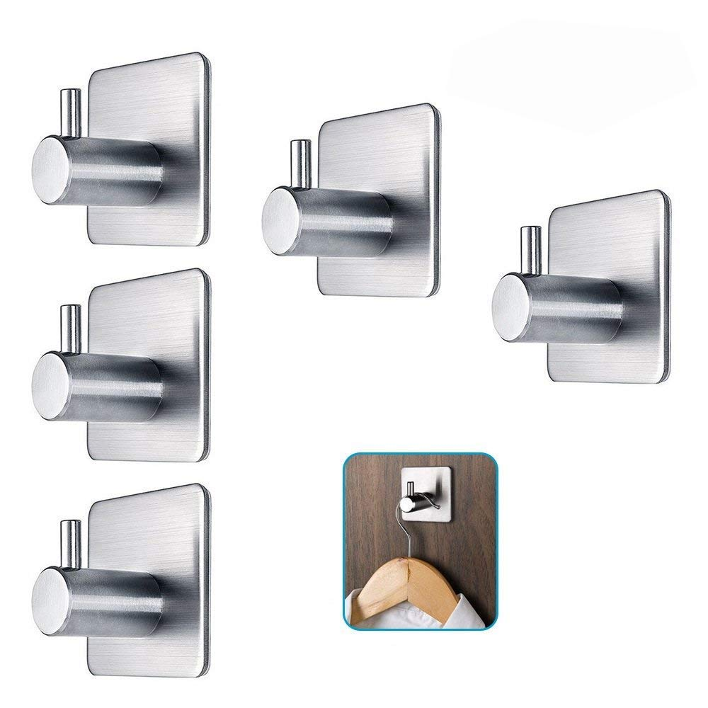 304 Stainless Steel 3m Self Adhesive Hook Hat Key Rack Bathroom Kitchen Towel Holder Hanger Wall Mount Stick On Sticky Hanger Factories And Mines Towel Rings
