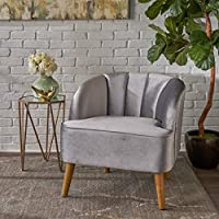 Scarlett Modern Pewter Velvet Club Chair