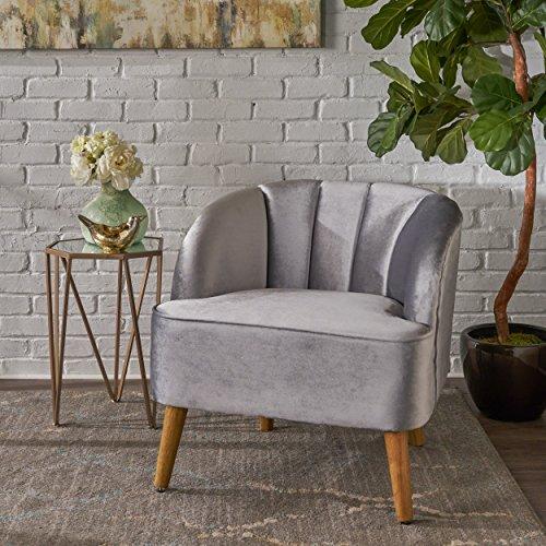 Christopher Knight Home 303501 Scarlett Modern Pewter Velvet Club Chair