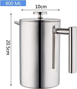 Coffee Pot French Press Coffee Tea Brewer Double Wall 1Liter 34 Ounces, Heavy Duty 18/10 Stainless Steel Thermos for Coffee Drinkware,800 Ml