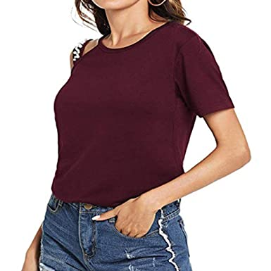 44825f9c TUSANG Women Blouse Fashion Solid Casual O-Neck Short Sleeve Camis One  Shoulder Slim Fit
