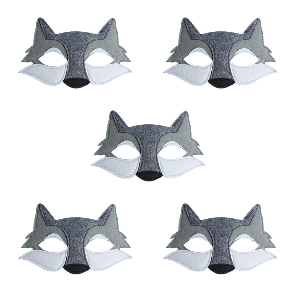 TOKYO-T Wolf Mask for Kids Party Supplies Fabric Masquerade Halloween 5 Set