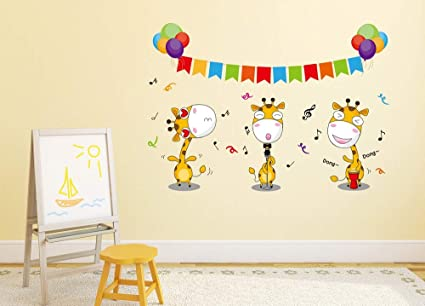 Amazon Brand - Solimo Wall Sticker for Kids Room (Dont Miss The Giraffe Dance, Ideal Size on Wall - 54 cm x 38 cm)