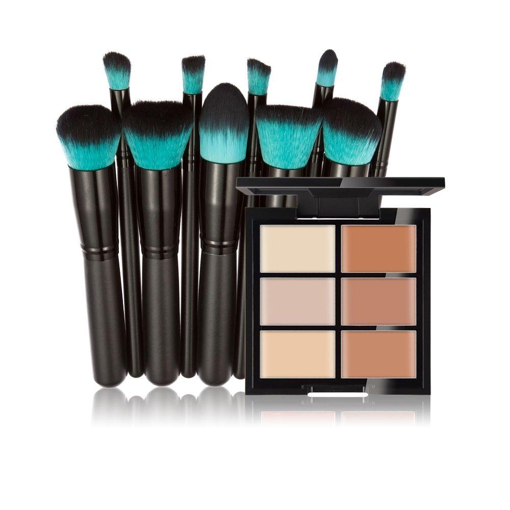 Anself Huamianli Makeup Cosmetic Kit 6 Colors Concealer Contour Palette + 10Pcs Cosmetic Brushes Set Face Makeup Cream Primer Tools W5022-2-2CCCZ7