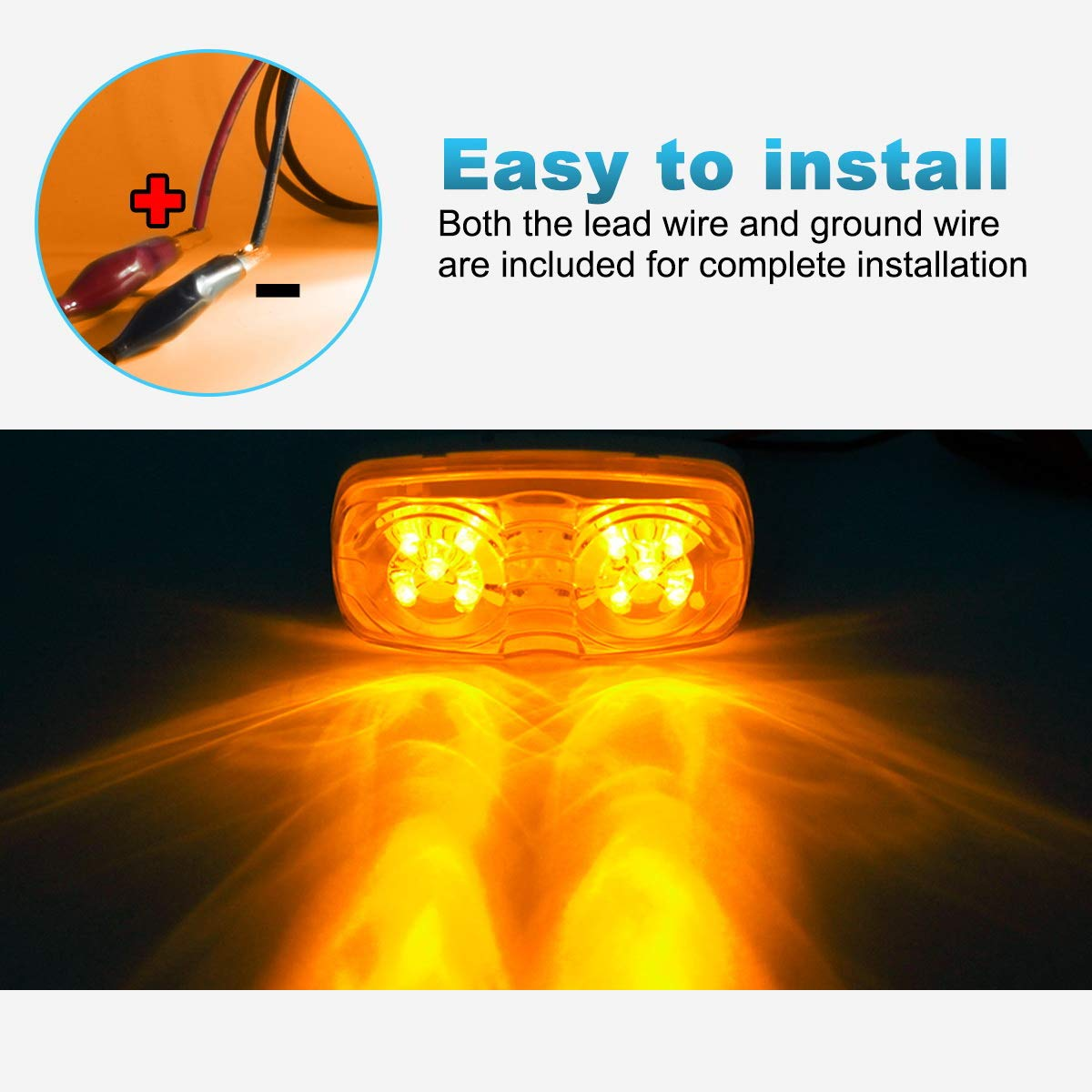 Partsam Five Trailer Marker LED Light Double Bullseye Amber 10 Diodes Clearance Light by Partsam (Image #4)