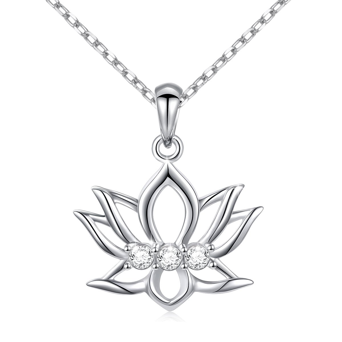 LINLIN FINE JEWELRY Lotus Necklace 925 Sterling Silver White CZ Reminders New Beginnings Lotus Pendant Necklace Gift for Women Girls, 18''