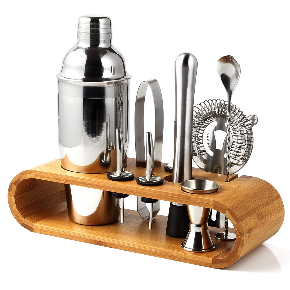 10-Piece Cocktail Shaker Set with Stylish Bamboo Stand - Perfect Home Bartender Kit and Bar Tool Set (Barware set)