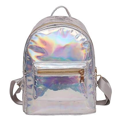 6f05f2eff Amazon.com | CUTEQ Laser Holographic Backpack Mini Hologram School Bag  Travel Rucksak Women | Kids' Backpacks