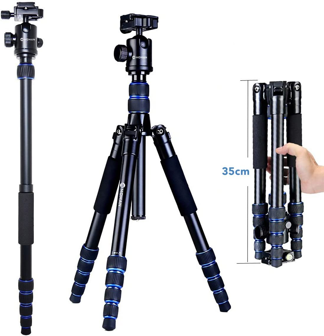 Moman Camera Tripod Monopod Alpenstock with Ball Head, Aluminum Alloy Foldable Axis Inversion Design, Weight Capacity of 33 Lb