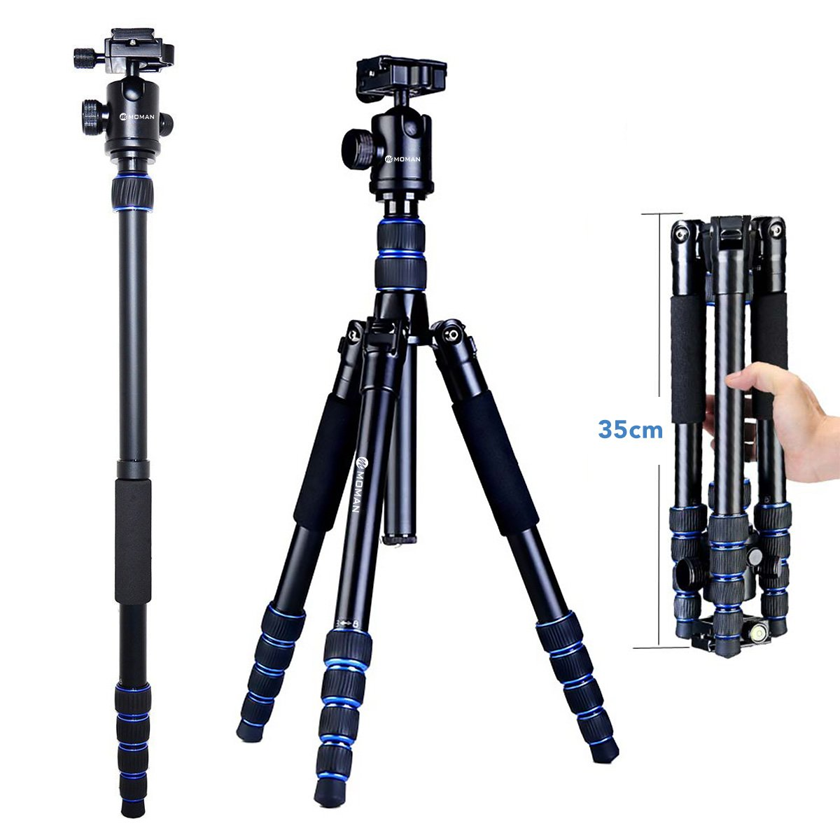 Moman Camera Tripod Monopod Alpenstock with Ball Head, Aluminum Alloy, Foldable Axis Inversion Design, Weight Capacity of 33 Lb