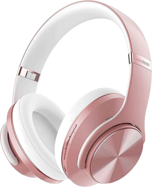 DOQAUS Auriculares Diadema, [52 Hrs de Reproducir] Auriculares Inalambricos Bluetooth con 3 Modo EQ, Mikrofon y Doble Controlador de 40 mm, para Móviles/Xiaomi/iPhone/PC/TV (Oro Rosa)