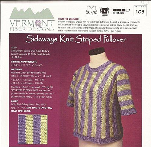 (Sideways Knit Striped Pullover - Vermont Fiber Designs Knitting Pattern #108 - XS-4/5X - Pattern Only)