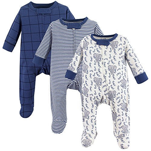 Touched by Nature Organic Cotton Sleep and Play, 3 Pack, Elephant, 0-3 ()