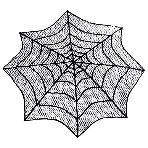 Spider Web Black Lace Round 30inch Tablecloth For Halloween Decoration Party Black -