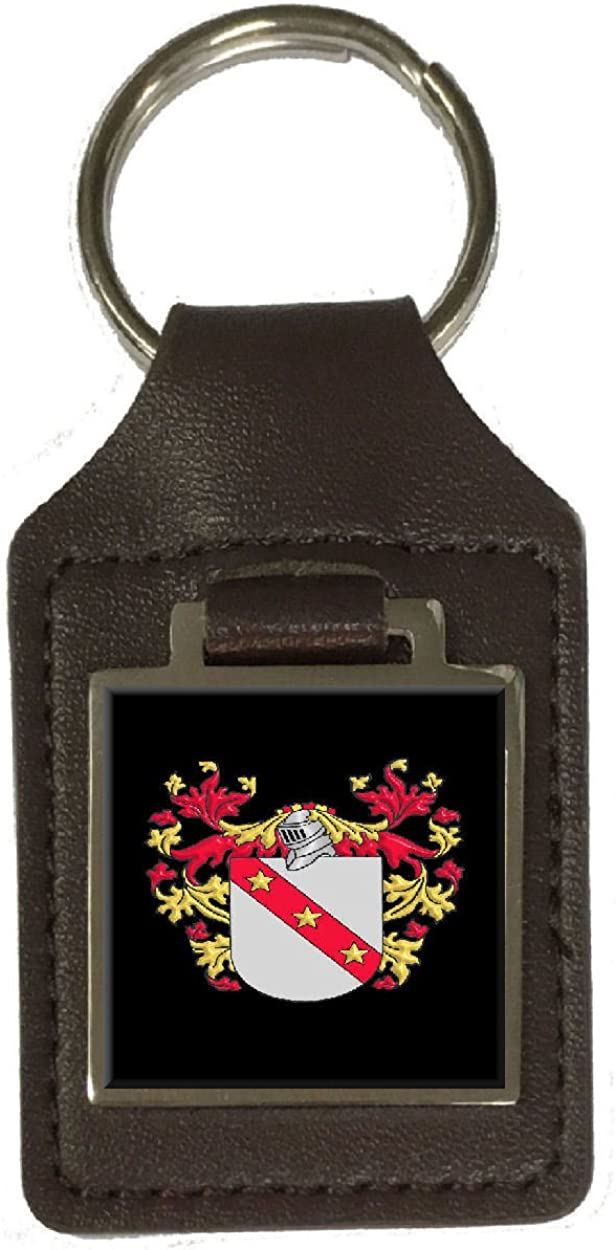 Vance Family Crest Surname Coat Of Arms Brown Leather Keyring Engraved