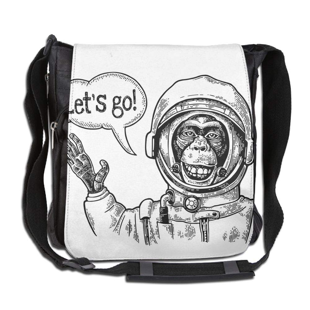 SARA NELL Messenger Bag,monkey Astronaut,Unisex Shoulder Backpack Cross-body Sling Bag