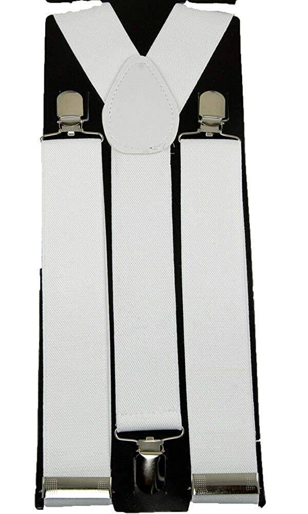 Back Suspender 1 1//2 #MNAS Quality Unisex Clip-on Braces ElasticWhite Y