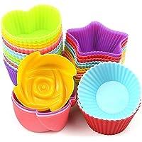 Samtour Cupcake Baking Silicone Cake Molds for Baking Non Stick 24Pcs, 4 Type, 6 Colors Cake Molds Sets
