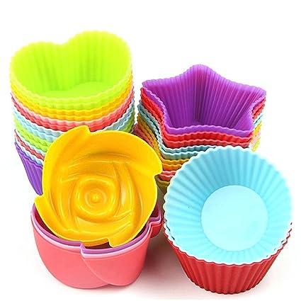GOURDOLL moldes para magdalenas de silicona moldes para pastel de pan muffin calor antiadherente reutilizable y