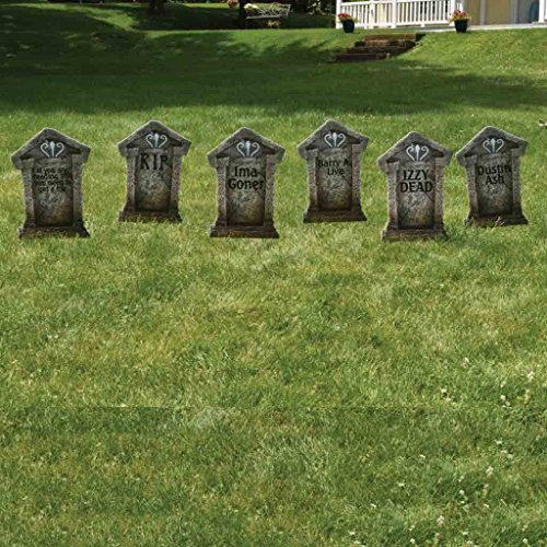Fake Tombstones - Halloween Yard Decoration - Set/6, 21.3