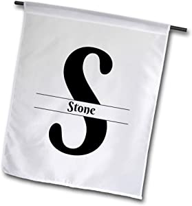 3dRose BrooklynMeme Monograms - Bold Script Monogram S - Stone - 12 x 18 inch Garden Flag (fl_305784_1)