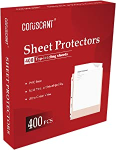 Coruscant 400 Sheet Protectors 3 Hole Lightweight Binder Sleeves Protecting Paper File Classification No Acid No PVC Double Sided Transparent 9.25 X 11.25 Top Loaded