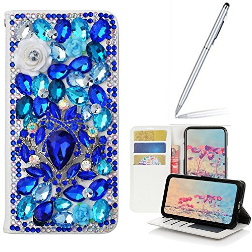 Galaxy I9200 Case with 2 in 1 Stylus and Ballpoint Pen,Yaheeda [Stand Feature] Butterfly Crystal Wallet Case Premium [Bling Luxury] PU Leather Flip Cover [Card Slots] For Samsung Galaxy Mega 6.3 i9200 by Yaheeda