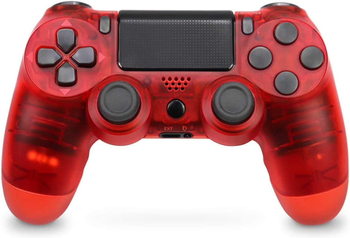 Wireless PS4 Controller, PS4 Remote for Sony Playstation 4 with Led Touch Pad and Double Shock (Red Crystal)