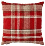 McAlister Heritage Plush Plaid 20'' Decor Pillow Cover | Red Zip 20x20 Throw Cushion Case | Wool Texture Linen, Striped Tartan Check | Rustic Farmhouse Cabin Accent