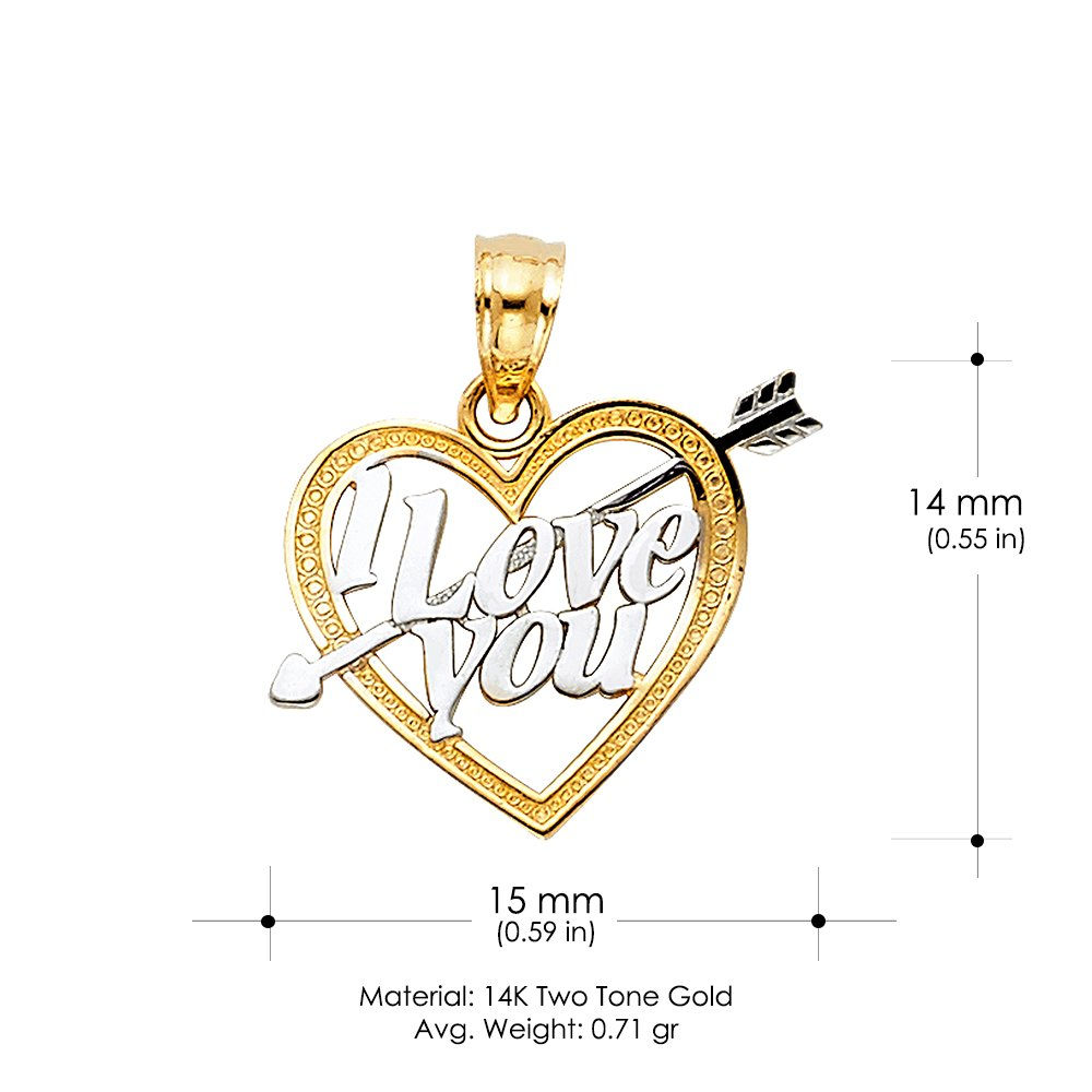 14K Two Tone Gold I Love You Heart Charm Pendant with 1.2mm Flat Open Wheat Chain Necklace