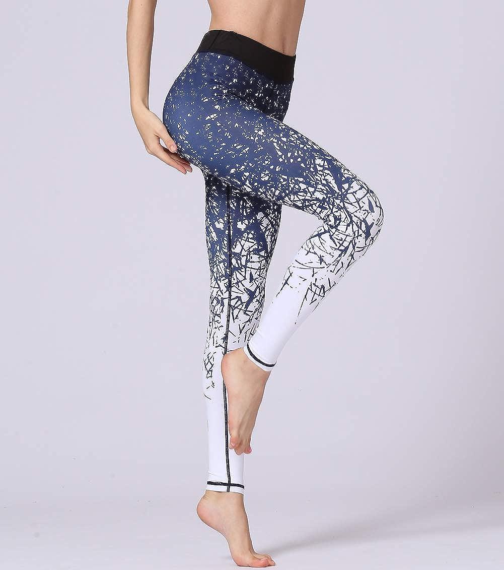ULSTAR Yoga Pants Women Stretch High-Waist Print Yoga Tights Fitness Leggings for Women