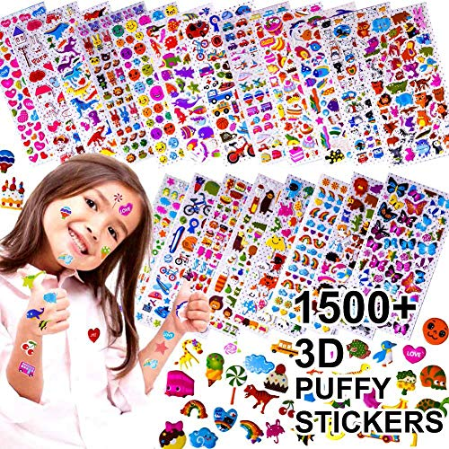 Stickers for Kids 1500+, 20 Different Sheets, 3D Puffy Stickers, Bulk Kids Stickers for Scrapbooking, Girl Boy Birthday Present Gift, Toddlers, Children, Variety Pack Including Animals, Cars and More