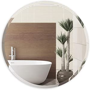 ANYHI Round Beveled Frameless Wall Mirror for Entrances,Bathrooms,Bedrooms,Washrooms,18 Inch Vanity Mirror Bathroom Mirror Wall-Mounted Mirror