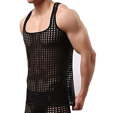 18771cc463bf5 Men Mesh Sleeveless Tank Top Hollow Out Vest Transparent Singlet Undershirt  Black