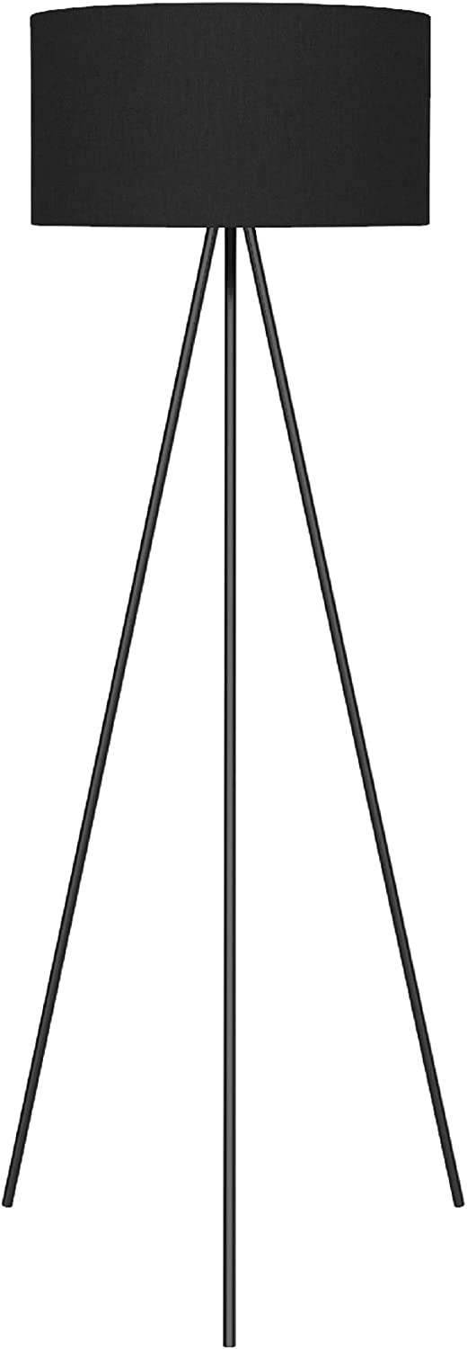 Ambiore Braga Tripod Floor Lamp - 61 inch Morden for Living Room Office - Black Painting Tripod with TC Fabric Shade