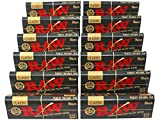 RAW Classic Black 1 1/4 Size Natural Unrefined Ultra Thin 79mm Rolling Papers (12 Packs)