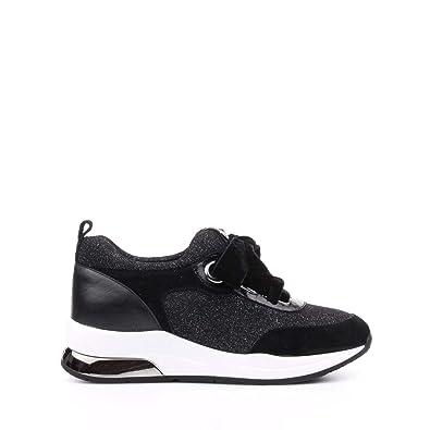 Liu Jo Chaussures Femme Baskets Basses B68005 TX004 Karlie 06 Lace UP Noir Argent  Taille 51cdef0b58f5
