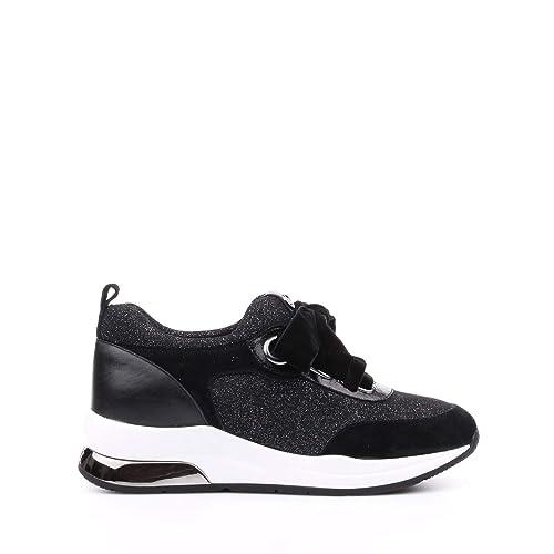 LIU JO Zapatos de Mujer Zapatillas Baja B68005 TX004 Karlie 06 Encaje UP Negro/Plata Talla 35 Negro/Plata: Amazon.es: Zapatos y complementos
