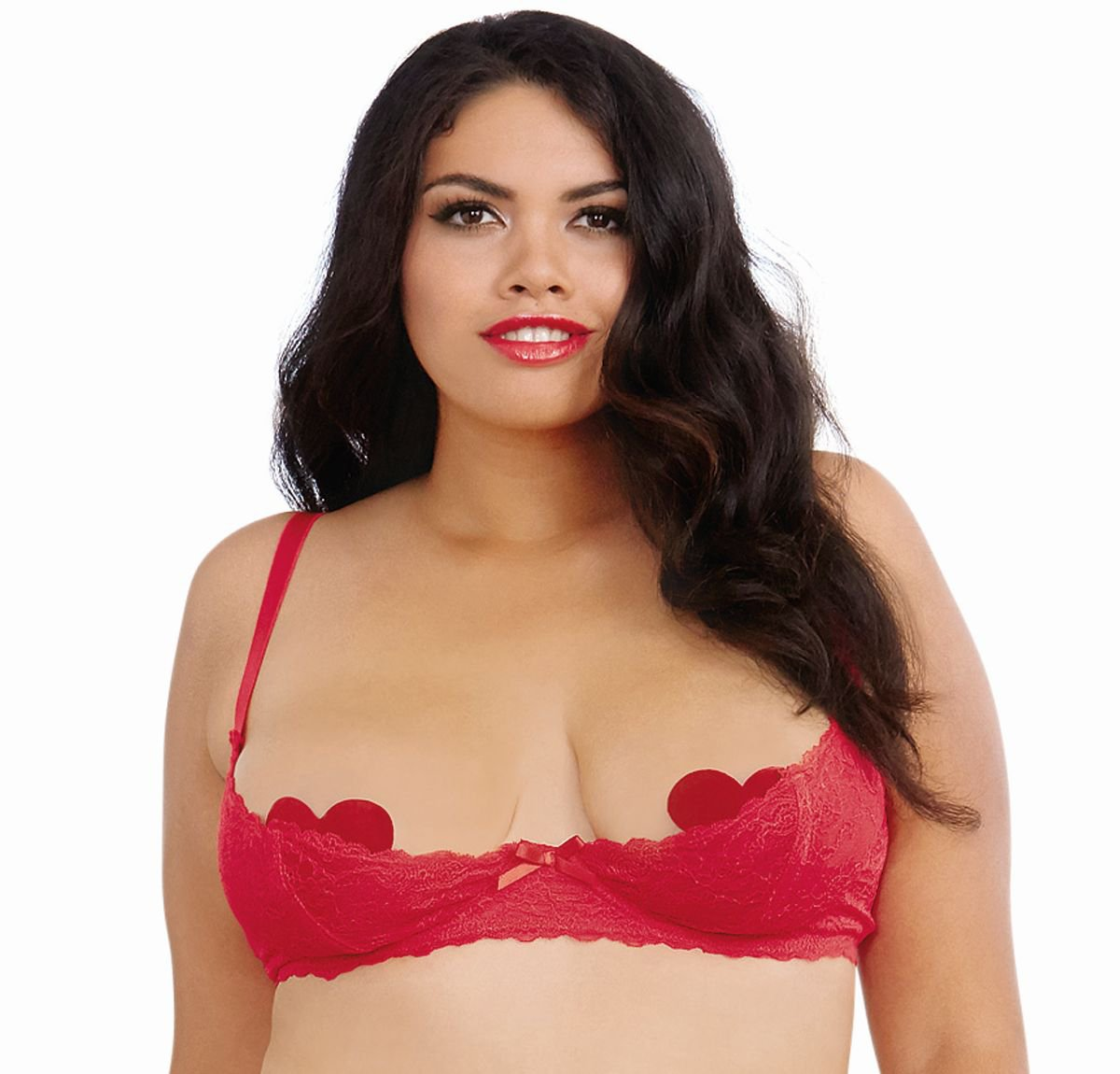 DreamGirl Womens Plus-Size Plus Size Lace Open Cup Underwire Shelf Bra Dreamgirl International 9386X