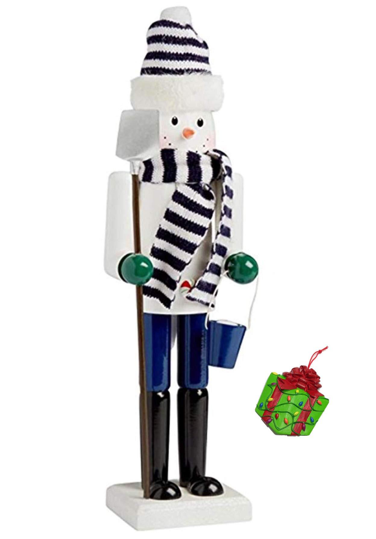 Distinctive Designs Snowman with Shovel Large Unique Themed Decorative Holiday Season Wooden Christmas Nutcracker & Bonus Tree Ornament