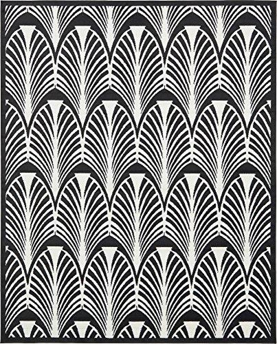 Unique Loom Metro Collection Modern Geometric Coastal  Black Area Rug (8' 0 x 10' 0)