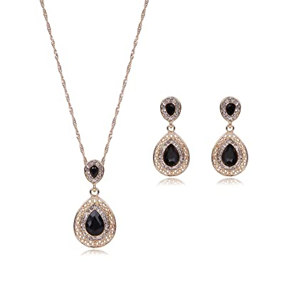8f7735bbe OUFO Women Girls Gold Plated Crystal Teardrop Black Stone Necklace Pendant  Earring Elegant Charm Jewelry Set