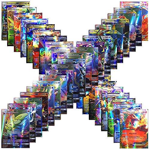 100 Poke Cards TCG Style Card Holo EX Full Art : 20 GX + 20 Mega + 1 Energy + 59 EX Arts in USA