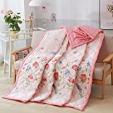 KFZ Summer Quilt Comforter Bedspread for Bed Breathable XR Three Sizes Flower Series Colorful Space Gardenia Flower Garden Designs for Children Adult One Piece (Fresh Flowers,Pink, Twin, 59''x78'')