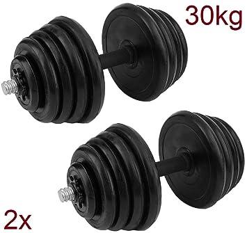 DED Mancuernas Pesas de Disco 15+15 30kg Fitness Musculación ...