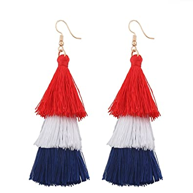 66a875bbe Amazon.com: Bohemia Elegant Colourful Multilayer Tassels Earrings for Women Tiered  Thread Statement Layered Long Dangle Earrings: Jewelry