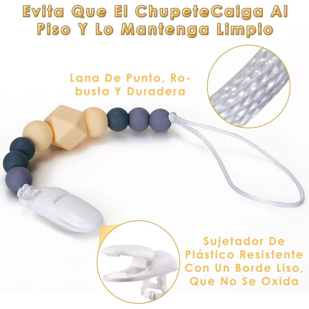 Nasjac Chupetes de Clip Bebé, Hecha de Materia Segura, Limpiable, Antiarrugas y Anti-Fade,Bebé elefante de silicona libre de BPA